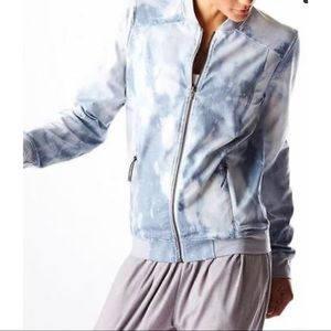 Lucy Bleached Indigo Zip Up Athletic Jacket